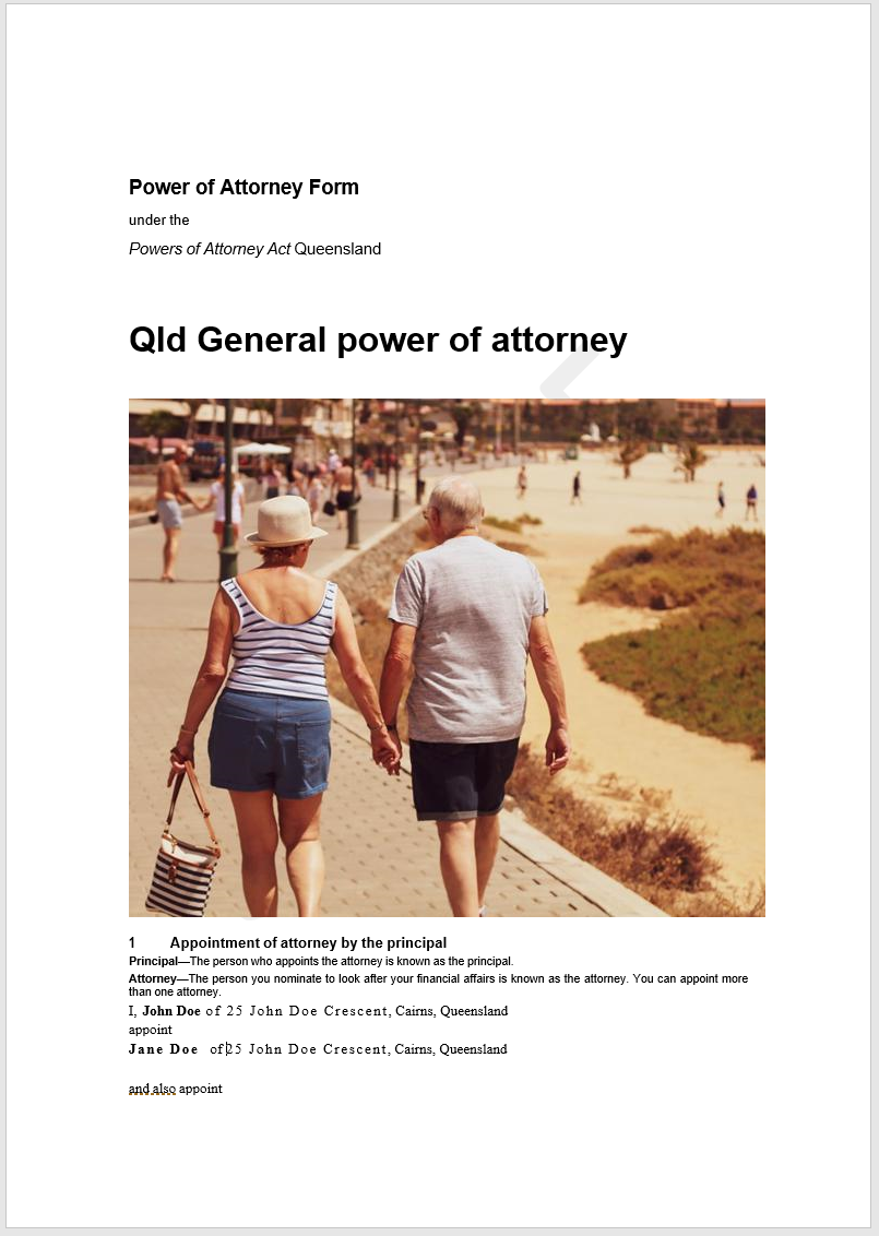 Qld-GPOA-sample General Power Of Attorney Form Queensland on template for oho, north carolina,
